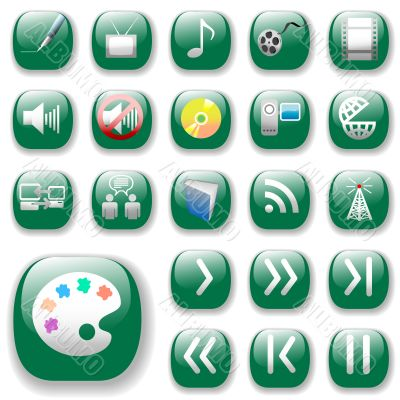 Green Icons, Digital Media Art Set