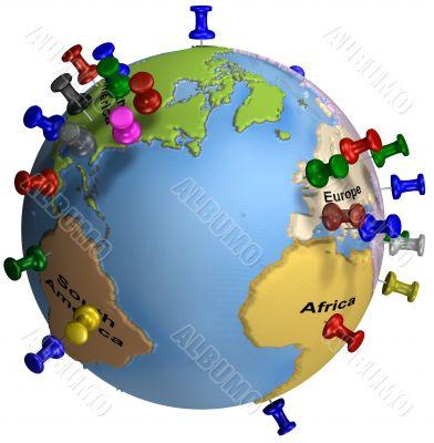 Tacks In Earth Map - Atlantic