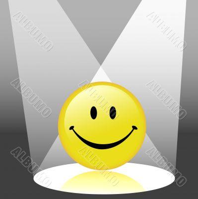 Happy Emoticon Smiley Face in Spotlight