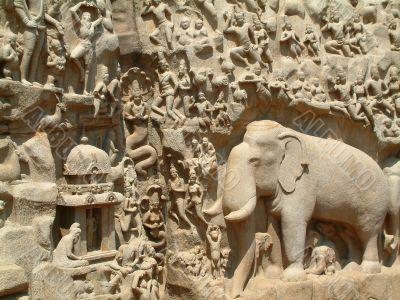 Mahabalipuram Temple Bass-Relief