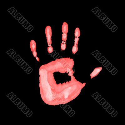 red fingerprint on black