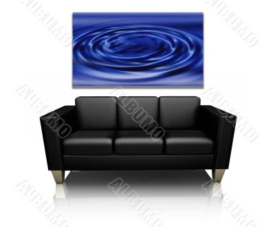 Sofa with canvas art