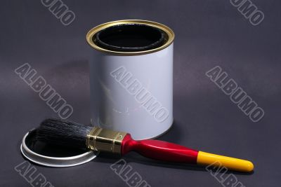 Blank White Paint Tin With Paintbrush and Lid