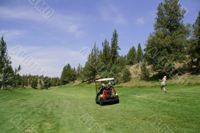 Golf cart and lady golfer driving