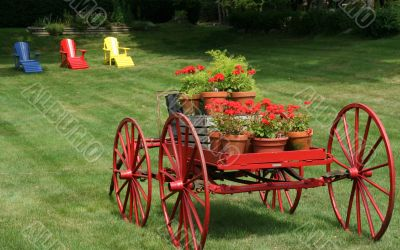 Flowers in wagon,resort lawn