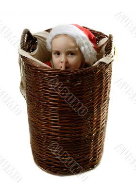 Hush! (Santa helper in the basket)