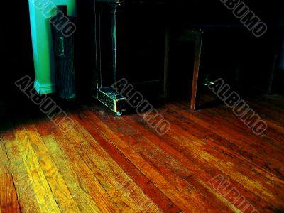 piano stool and wood floor
