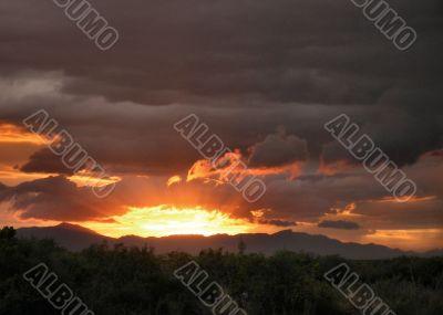 Furnace Hot  Sun setting behind mountain