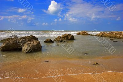 Stony beach.