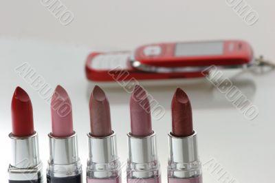 lipsticks and cellphone