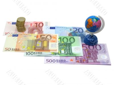 Euro money and world globe