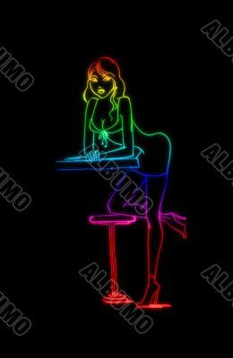 Colored girl sketch in bar
