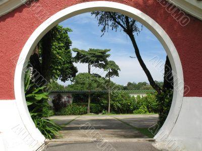Peeking into an oriental garden
