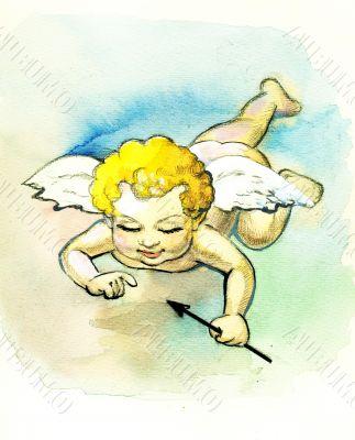 Beautiful illustration with angel,cupid