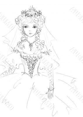 Beautiful bride sketch