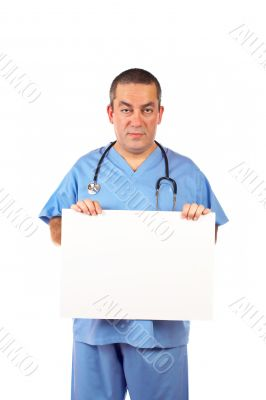 Male doctor holding the blank placard
