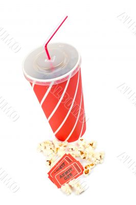 Popcorns, tickets and soda