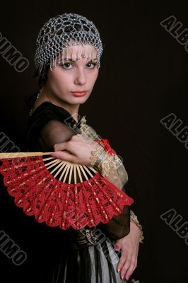 Decadanse with a red fan