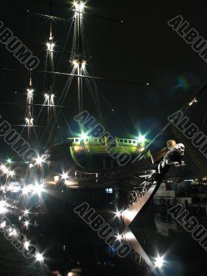 Sailer at night - vertical, colour