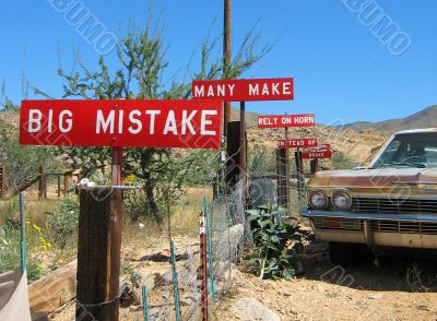 Funny Signs in Arizona Desert along Route 66