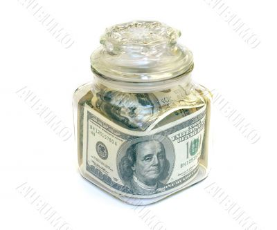 Jar with 100 USD Bank Notes