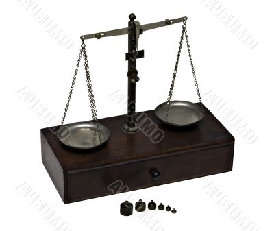 Antique Brass Jeweler`s Scale with Weights