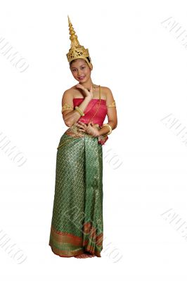 Thai/Khmer Girl full length isolated