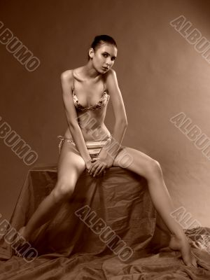 Marina, model in a sepia. Studio picture.