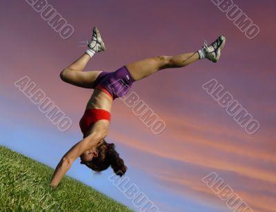 Girl exercising outdoors