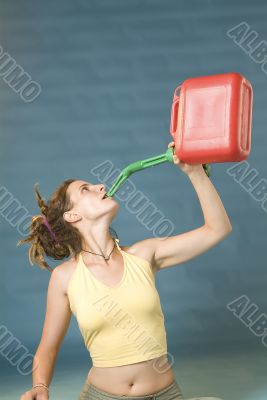 woman drinks of jerry can