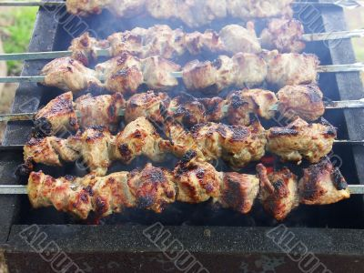 Shish kebab on the grill