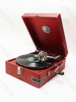 isolated retro record player