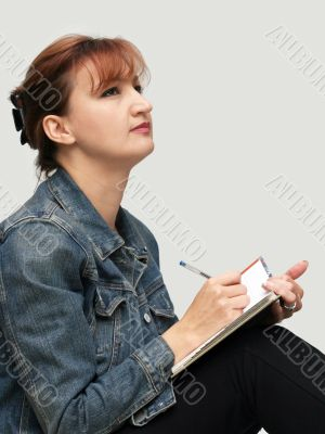 Casual woman with her diary