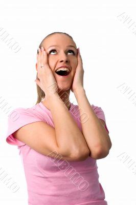 happy surprised woman