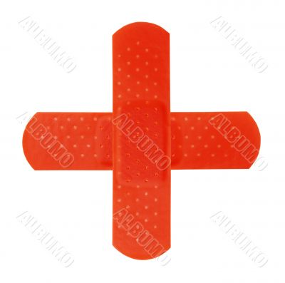 2 red bandages making red cross