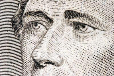 Alexander Hamilton close up from 10 dollar bill