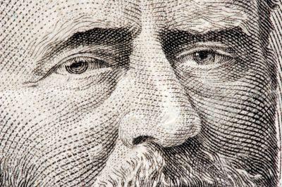 Ulysses S. Grant close up from 50 dollar bill