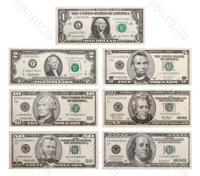 7 US bank notes including the rare 2 Dollar Bill