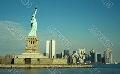 Statue of Liberty and Twin Towers