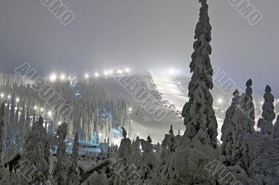 ski resort at the evening