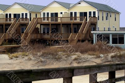 A row of new yellow beach  houses