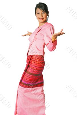 Asian girl in handmade silk outfit