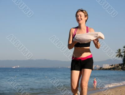 Exercising on the beach