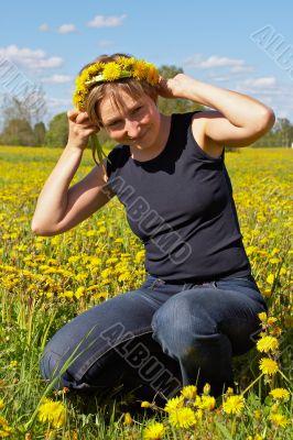 woman with dandelion wreath