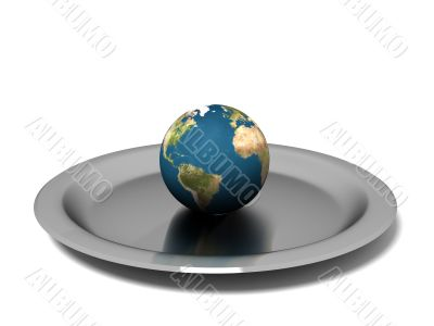 Earth on steel plate