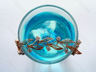 Blue drink with bracelet