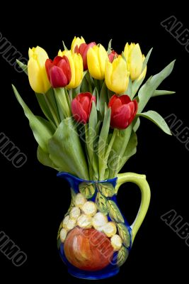 Tulips in Pitcher on black