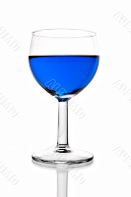 wineglass with blue liquor