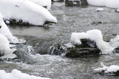 flowing water with snow and rocks