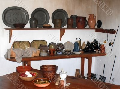 old fashioned kitchen with assortment of wares